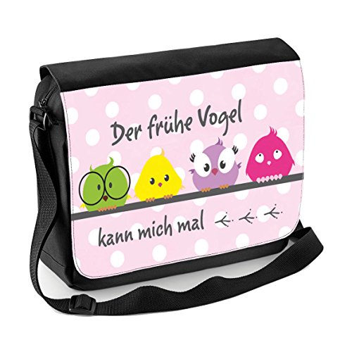 Mein Zwergenland Sublimation Messenger Bag mit Namen & Wunschmotiv, 11 L, schwarz, Motiv 5 Motiv 11