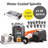 MYSWEETY 1Set DIY 110V 2200W Water Cooled Spindle Motor CNC Spindle Motor 80MM 2.2KW + 13pcs ER20 Collet + 80MM Clamp + Converter + 5M Water Pipe + 110v Water Pump