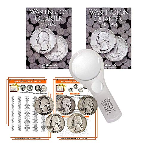 Washington Quarter Starter Collection Kit, Part One, H.E. Harris [2688] Washington Quarter Folder Vol. 1, [2689] Folder Vol. 2, Five Silver Quarters, Magnifier & Checklist, (9 Items)