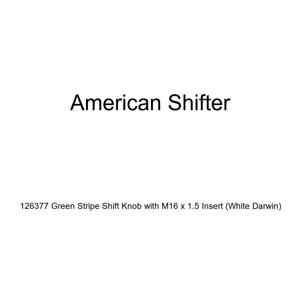 White Darwin American Shifter 126377 Green Stripe Shift Knob with M16 x 1.5 Insert
