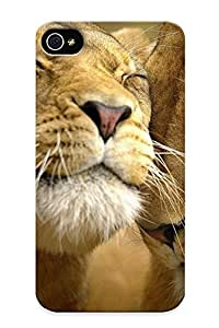 High Quality Shock Absorbing Case For Iphone 4/4s-cats Animals Lions
