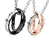 """Image of Amazing His & Hers Couples """"I Will Always Be with You"""" Rings Pendant Necklace 19"""" & 21"""" Chain"""
