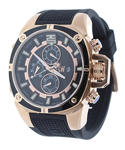 Technosport TS-100-1 Unisex Swiss Multifunction Watch GMT/Month/Day/Date Indicators Rose Gold Case & Black Silicone - Mens Rose Swiss