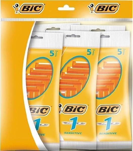 BiC 1 Sensitive - Cuchillas de afeitar desechables para hombre (5 ...