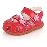 SAGUARO Girls Closed Toe PU Leather Soft Summer Sandals Flower Princess Flat Shoes Outdoor Sport Casual