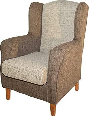 Abitti Sillón butaca orejero. Tapizado Color Arena y marrón. 104x80x76cm. para salón Comedor o Dormitorio. Envío montado.