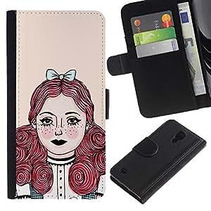 SAMSUNG Galaxy S4 IV / i9500 / SGH-i337 Modelo colorido cuero carpeta tirón caso cubierta piel Holster Funda protección - Redhead Girl Pastel Tones