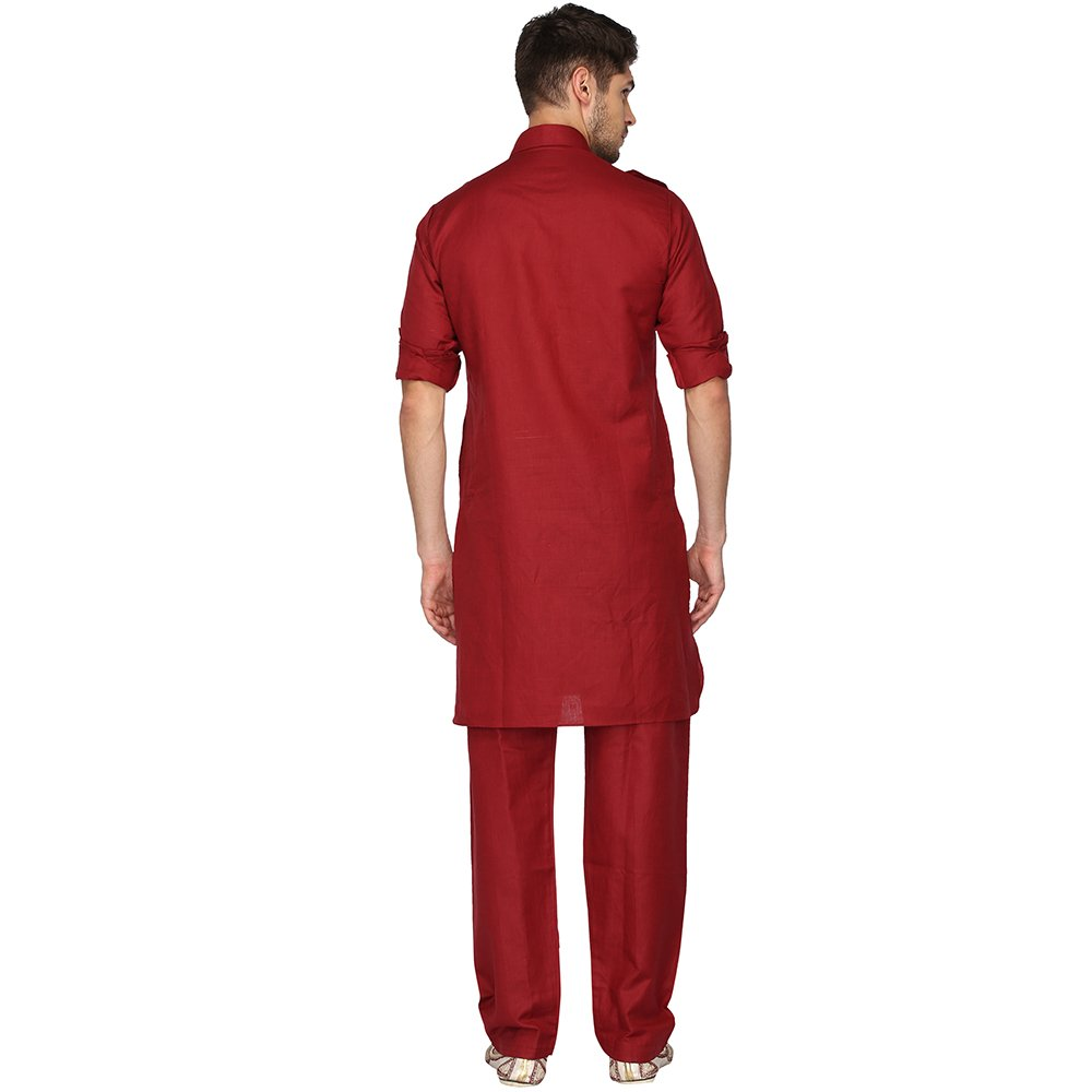 80e7cf315fd Kashish by Shoppers Stop Mens Collared Solid Kurta and Pyjama Set   Amazon.in  Clothing   Accessories