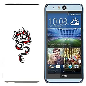 TECHCASE---Cubierta de la caja de protección para la piel dura ** HTC Desire Eye ( M910x ) ** --Dragón Arte Negro Dibujo Rojo