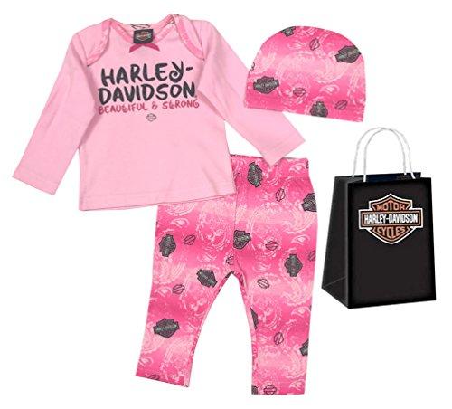 (Harley-Davidson Baby Girls' Glittery 3 Piece Gift Set w/ Gift Bag, Pink 2503725)