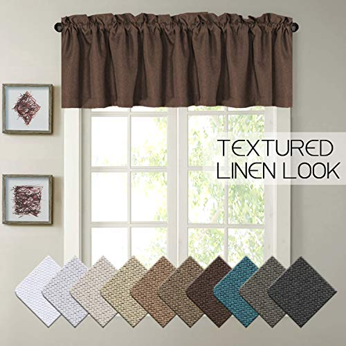 H.VERSAILTEX Thermal Insulated Heavy Linen Curtain Valances Matched with Panels, Rod Pocket Window Valance,52 by 18 - Inch, Cocoa Brown,1 Panel