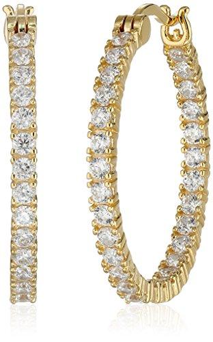 Plated Sterling Silver Double-Side Cubic Zirconia Hoop Earrings (1 Diameter)