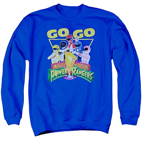 Mighty Morphin Power Rangers TV Series Go Go Group Logo Adult Crew Sweatshirt (Mighty Morphin Power Rangers Logo)