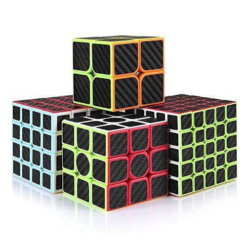 cfmour Rubiks Cube, Rubix Cube Speed Cube Set,2x2 3x3 4x4 5x5 Carbon Fiber Sticker Cube Bundle for Kids