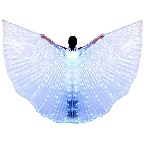Dance Fairy Belly Dance LED Angel Isis Wings with Telescopic Sticks(Blue)]()