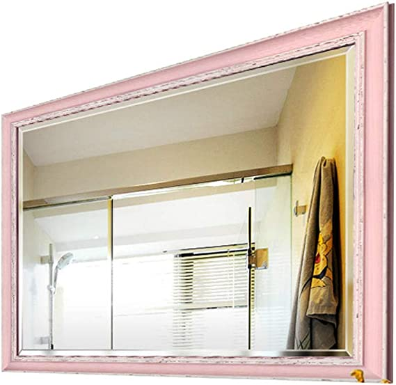 Espejo de Pared para baño, para Hotel Familiar con Espejos de vanidad montados en la Pared, biselados, Cuadrados, de Alta definición, Sencillos, Grandes, de 400 * 600 mm (Color : Pink): Amazon.es: Hogar