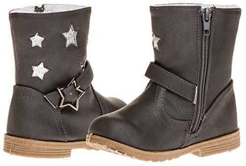 Sara Z Toddler Girls Boot With Star Buckle (Grey), Size 5-6