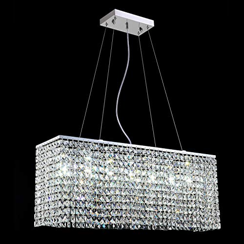 Yue Jia Luxury Contemporary Modern Linear Rectangular Dining Room Pendant Light Flush Mount Crystal Chandelier Lighting Fixture L31.5 xW7.8 xH11.8