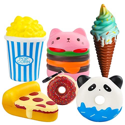 MALLMALL6 6Pcs Slow Rising Jumbo Squishy Set- Hamburger, Popcorn, Pizza, Ice Cream, Donuts X2 Creamy Scent Kawaii Soft Food Squishy Toys, Great Gift for Kids and Adult for $<!--$14.99-->