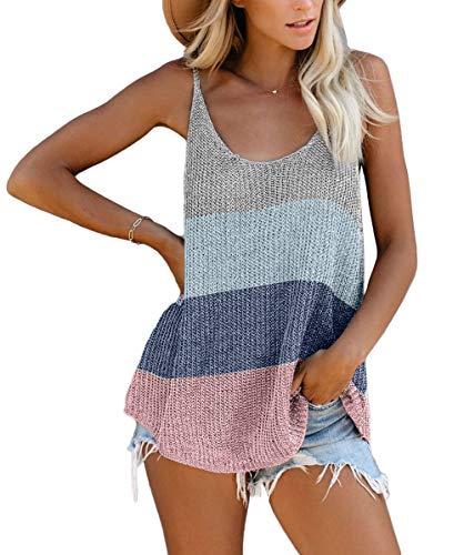Yidarton Women's Knit Tank Tops Summer Tanks Loose Sleeveless Tops Camis Casual Sleeveless Shirts Blouses
