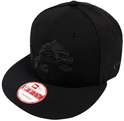 Lion Limited Edition - New Era NFL Detroit Lions Black On Black Snapback Cap 9fifty Limited Edition
