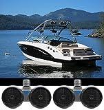 2 Rockville DWB80B Dual 8' Black 1600w Marine Wakeboard Tower Speaker Systems