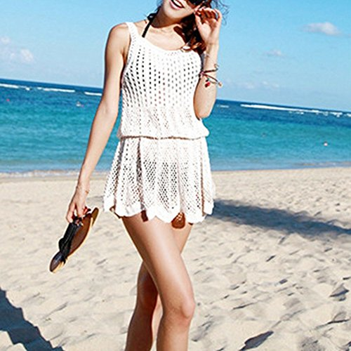 iBaste Bikini Cover up Tejer Hueco Honda Falda de Playa Blanco