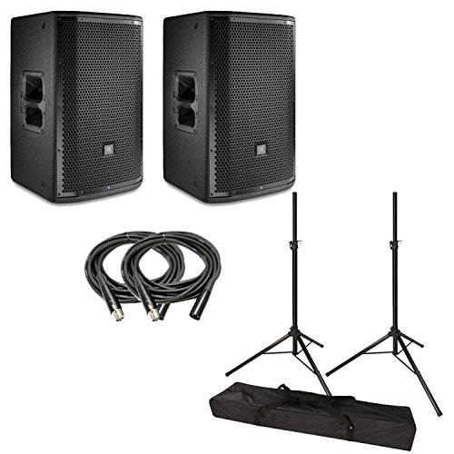 JBL PRX812W 12'' Two-Way Full-Range Main System/Floor Monitor Pair With Stands & Cables by JBL