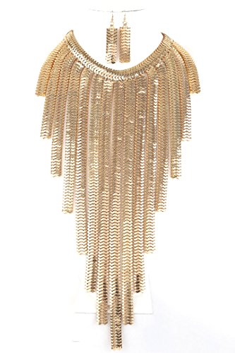 CN0109- DRESSY CASUAL WIDE MULTI STRAND FLAT MESHED SILVER CHAIN BIB LONG NECKLACE AND EARRINGS SET (GOLD) (Waterfall Necklace Bib)