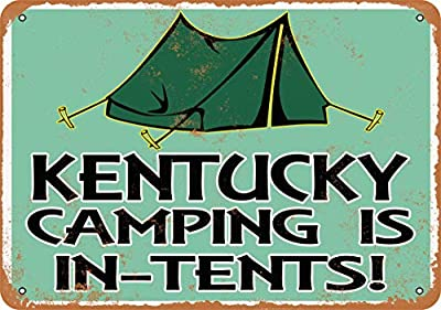 Wall-Color 10 x 14 Metal Sign - Kentucky Camping is in-Tents - Vintage Look