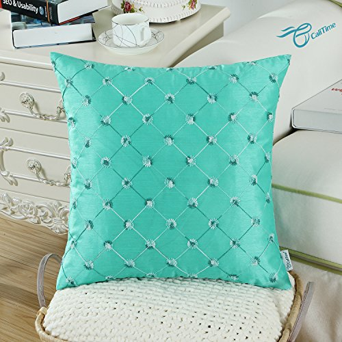 CaliTime Pack of 2 Cushion Covers Throw Pillow Cases Shells for Home Sofa Couch 18 X 18 Inches, Modern Diamonds Shape Geometric Chain Embroidered, Turquoise