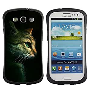 Suave TPU GEL Carcasa Funda Silicona Blando Estuche Caso de protección (para) Samsung Galaxy S3 I9300 / CECELL Phone case / / Cat Feline Portrait Profile Green Eyes /