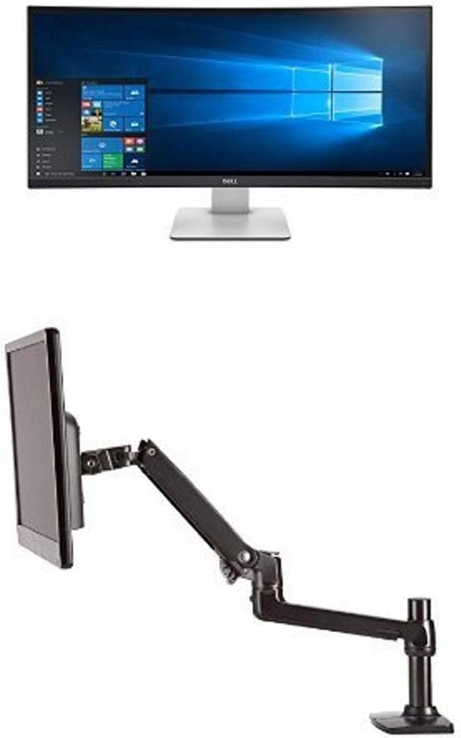 Dell UltraSharp U3415W 34-Inch Curved LED-Lit Monitor Bundle with AmazonBasics Single Mounting Arm
