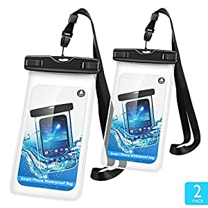 Universal Waterproof Case Firstbuy 2 Pack Dry Bag Phone Pouch With Sensitive PVC Clear Screen For iPhone X 8 7 7 plus 6S Plus Note 5 S7 S6 Edge LG, Phones Up to 6 Inches(Black)