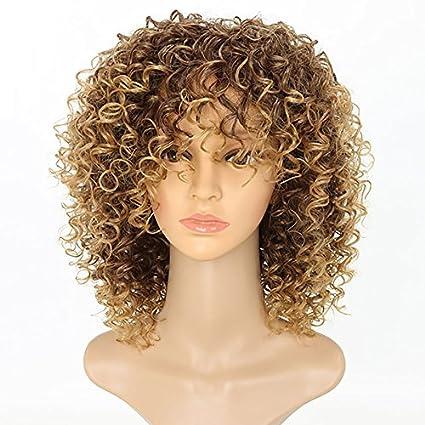 NEWFB Afro - Peluca rizada para mujer negra Kinky rizada, color rubio y negro,