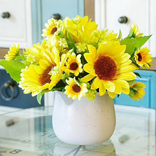 Situmi Artificial Fake Flowers Potted Plants Ceramic Vases Decorated Yellow Sunflower Home Accessories Artificial Flower SituMi