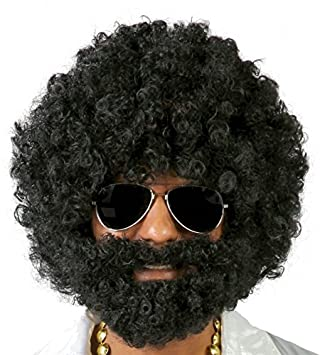 7ee6a332a94 Black afro curly wig with beard  Amazon.co.uk  Toys   Games