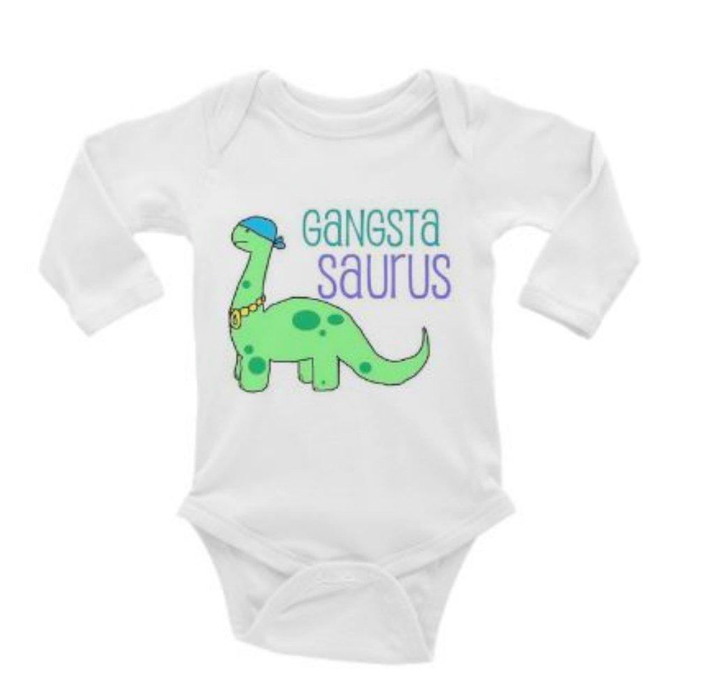 e0135ceea Amazon.com: Gangsta Saurus Long Sleeve Unisex Onesie (3-6): Baby