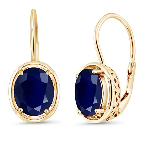 Gem Stone King 5.00 Ct Oval Blue Sapphire 18K Yellow Gold Plated Silver Dangle Earrings