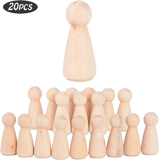 JNCH 20 STK Holzfiguren M/ädchen Dekoration DIY Figuren Deko zum Basteln Holz Puppen Holzpuppen zum Bemalen Kegel Figurenkegel Holzkegel