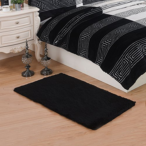 MBIGM Bedroom Rug Modern Super Soft Kid Living Room Rugs Decorative Shaggy Floor Carpets for Kids Rooms, 2.6 Feet X 4 Feet, Black (Course Minimal Surfaces In A)