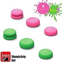 Skull & Co. Skin, CQC and FPS Thumb Grip Set Joystick Cap Analog Stick Cap for Nintendo Switch Joy-Con Controller - Neon Pink+Green(Splatoon2 Edition), 3 Pairs(6pcs)