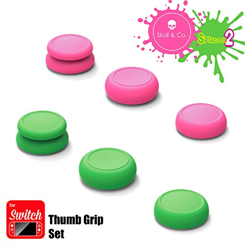 Skull & Co. Skin, CQC and FPS Thumb Grip Set Joystick Cap Analog Stick Cap for Nintendo Switch Joy-Con Controller - Neon Pink+Green(Splatoon2 Edition), 3 Pairs(6pcs) ()