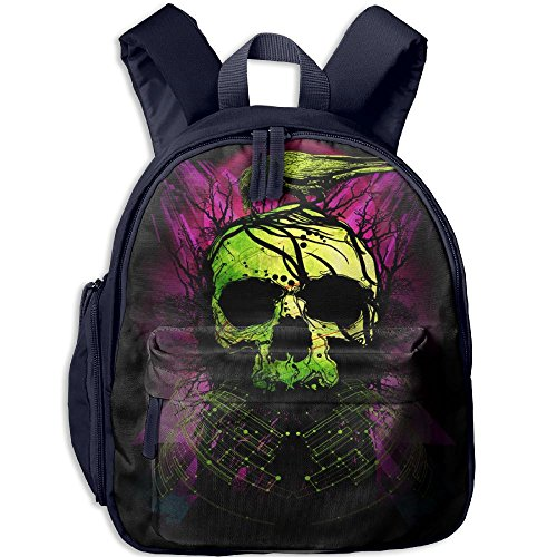 Kids Pre School Backpack Boy Girls Green Crow And Skull Book Bag