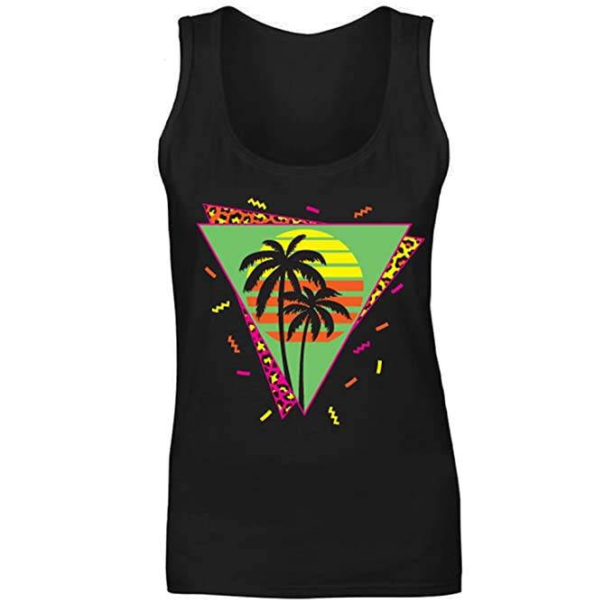 Women's 80s Sunset Palms Black in 6 Colours, Sizes 8 to 18Vest