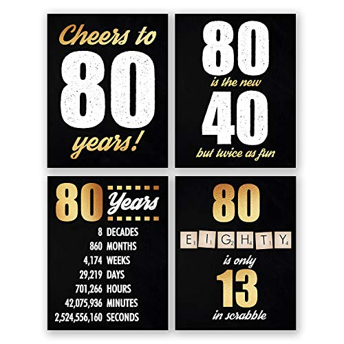 8x10 80th Birthday Decoration - Set of 4 Art Prints For Men and Women // Cheers to 80 Years Sign // Black and -