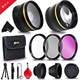 Essential 52mm Accessory Kit for Nikon D500, D750, D7200 D7100 D5300 D5200 D5100 D810 D610 D3300 D3200 D3100 D7000 D800 D600 D4x D3x DSLR Cameras - Includes: High Definition Wide Angle Lens with Macro Closeup feature, + High Definition 2X Telephoto Lens +