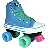 Roller Skates for Girls | HYPE Pixie Kid's Quad Roller Skates with High Top Shoe Style for Indoor / Outdoor Skating | Durable, Easy to Skate, Made for Kids (Blue, Pink)