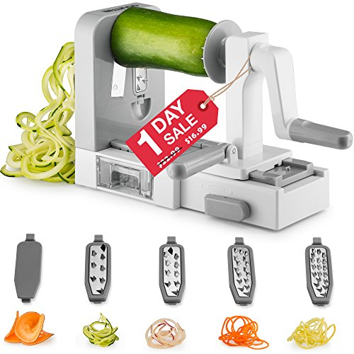 Gourmia GSS9615 Foldable 5 Blade Spiralizer Vegetable Slicer – 5 Stainless Steel Blades for Thick and Thin Pasta Spirals – No-Skid Suction Feet – Storage Container – BPA Free