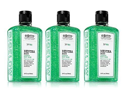 Lot of 3 Bath and Body Works Co Bigelow No 1411 Mentha Body Vitamin Wash with Peppermint Oil,10 (Bigelow Peppermint Body Wash)